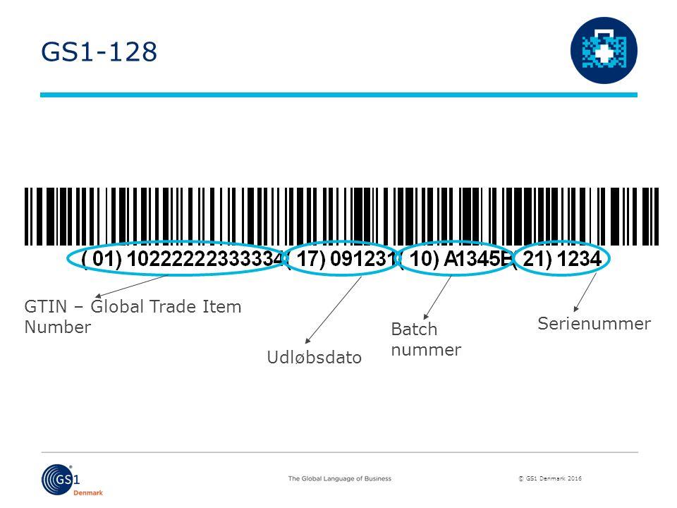 © GS1 Denmark 2016 GS1-128 GTIN – Global Trade Item Number Udløbsdato Batch nummer Serienummer