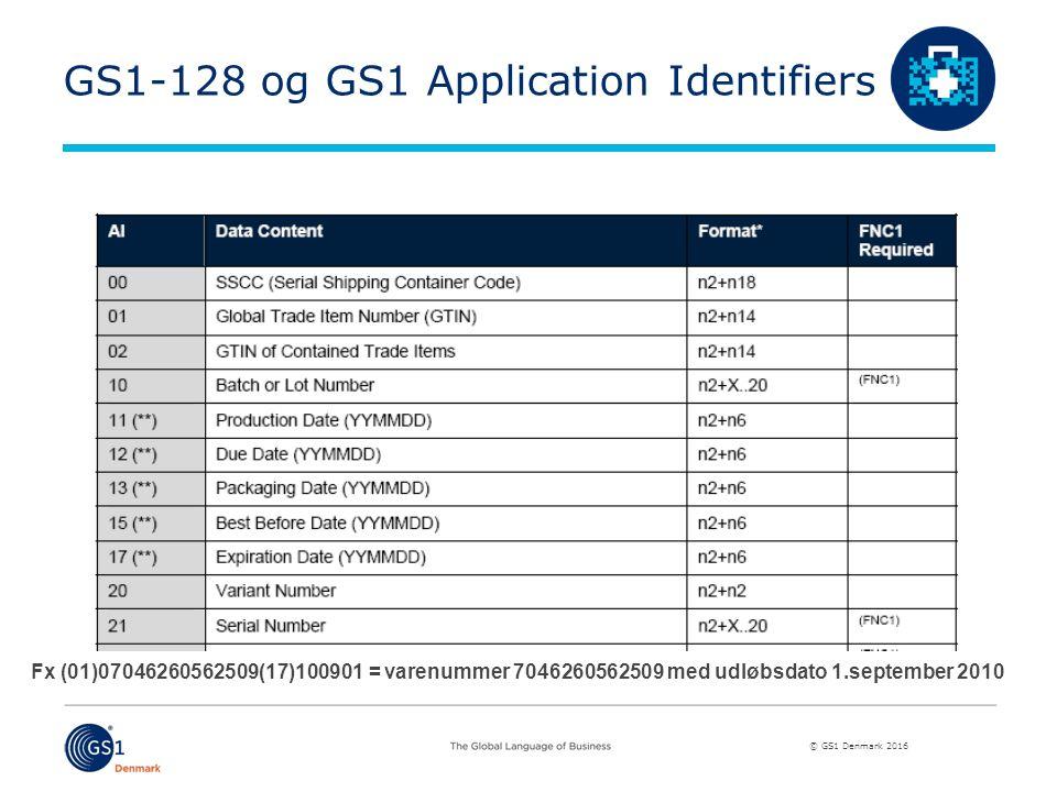 © GS1 Denmark 2016 GS1-128 og GS1 Application Identifiers Fx (01)07046260562509(17)100901 = varenummer 7046260562509 med udløbsdato 1.september 2010