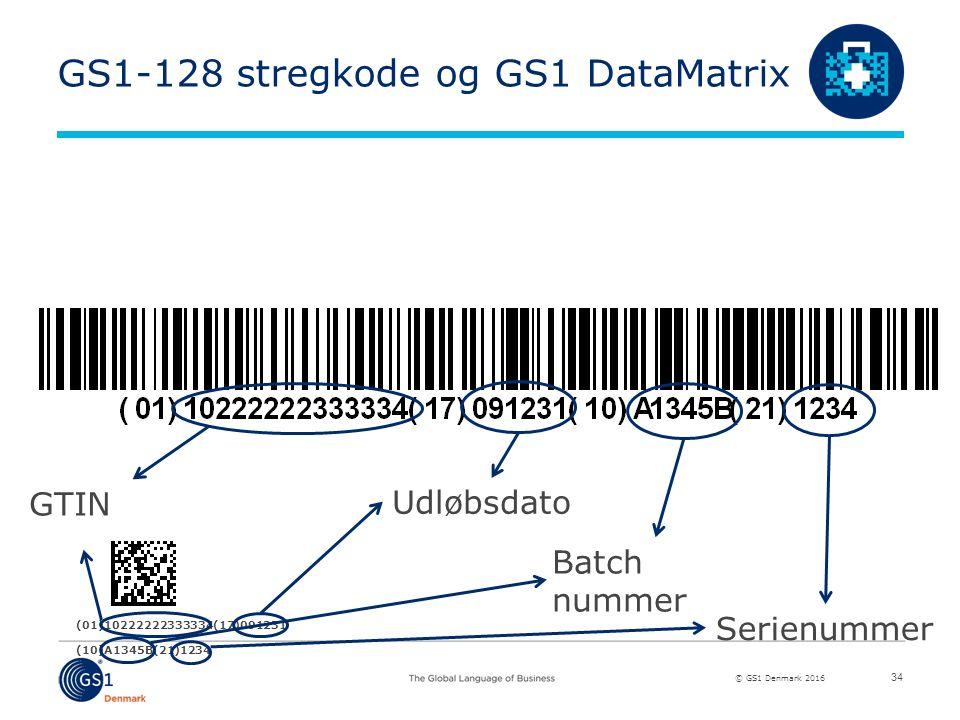 © GS1 Denmark 2016 (01)10222222333334(17)091231 (10)A1345B(21)1234 GS1-128 stregkode og GS1 DataMatrix 34 GTIN Udløbsdato Batch nummer Serienummer