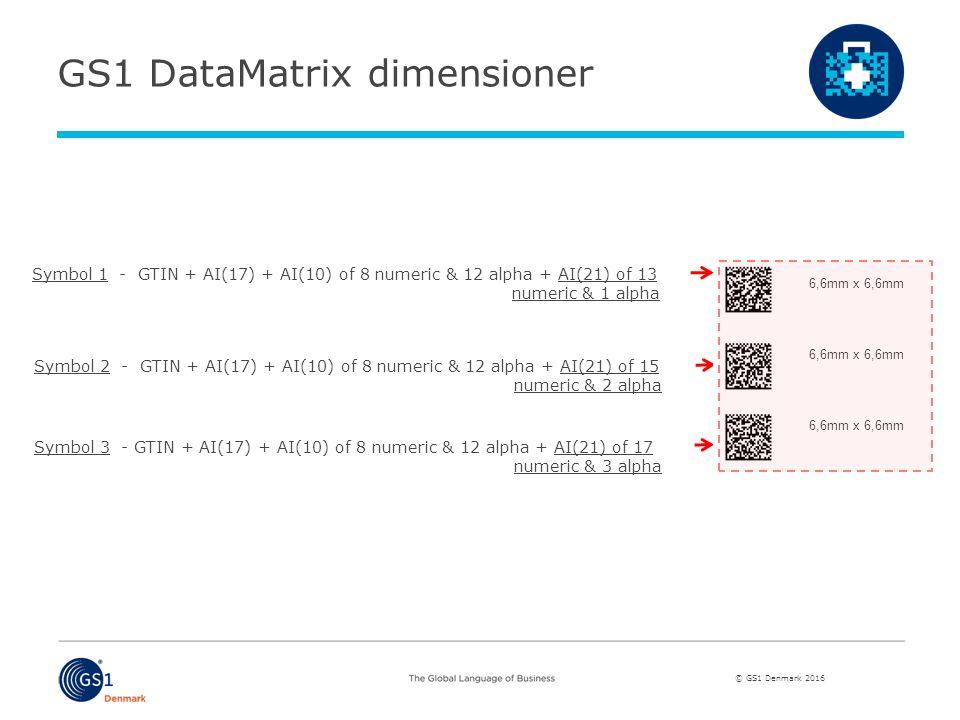 © GS1 Denmark 2016 Symbol 1 - GTIN + AI(17) + AI(10) of 8 numeric & 12 alpha + AI(21) of 13 numeric & 1 alpha Symbol 2 - GTIN + AI(17) + AI(10) of 8 numeric & 12 alpha + AI(21) of 15 numeric & 2 alpha Symbol 3 - GTIN + AI(17) + AI(10) of 8 numeric & 12 alpha + AI(21) of 17 numeric & 3 alpha GS1 DataMatrix dimensioner 6,6mm x 6,6mm