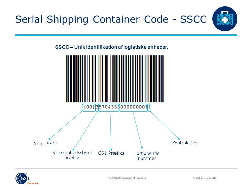 © GS1 Denmark 2016 Serial Shipping Container Code - SSCC SSCC – Unik identifikation af logistiske enheder.