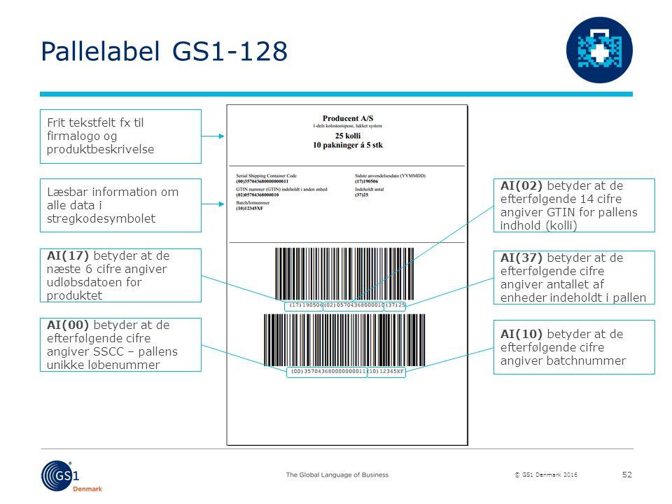 © GS1 Denmark 2016 Pallelabel GS1-128 52 Frit tekstfelt fx til firmalogo og produktbeskrivelse Læsbar information om alle data i stregkodesymbolet AI(17) betyder at de næste 6 cifre angiver udløbsdatoen for produktet AI(00) betyder at de efterfølgende cifre angiver SSCC – pallens unikke løbenummer AI(02) betyder at de efterfølgende 14 cifre angiver GTIN for pallens indhold (kolli) AI(37) betyder at de efterfølgende cifre angiver antallet af enheder indeholdt i pallen AI(10) betyder at de efterfølgende cifre angiver batchnummer