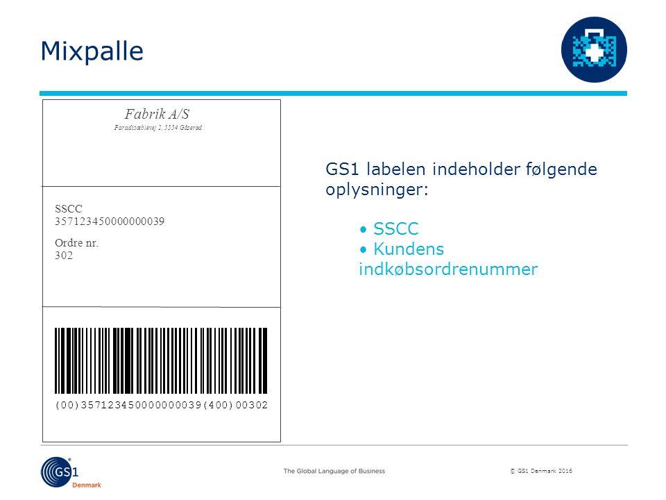 © GS1 Denmark 2016 GS1 labelen indeholder følgende oplysninger: SSCC Kundens indkøbsordrenummer SSCC 357123450000000039 Ordre nr.