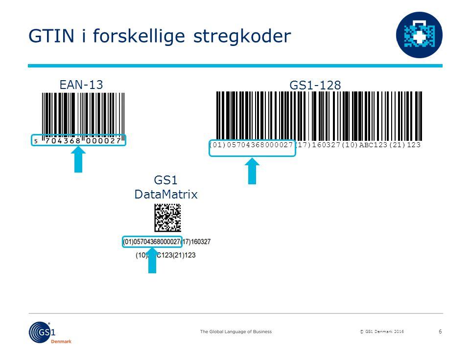 © GS1 Denmark 2016 GTIN i forskellige stregkoder 6 (01)05704368000027(17)160327(10)ABC123(21)123 EGS1-128 EEAN-13 GS1 DataMatrix