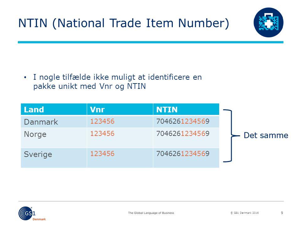 © GS1 Denmark 2016 NTIN (National Trade Item Number) LandVnrNTIN Danmark 1234567046261234569 Norge 1234567046261234569 Sverige 1234567046261234569 9 I nogle tilfælde ikke muligt at identificere en pakke unikt med Vnr og NTIN