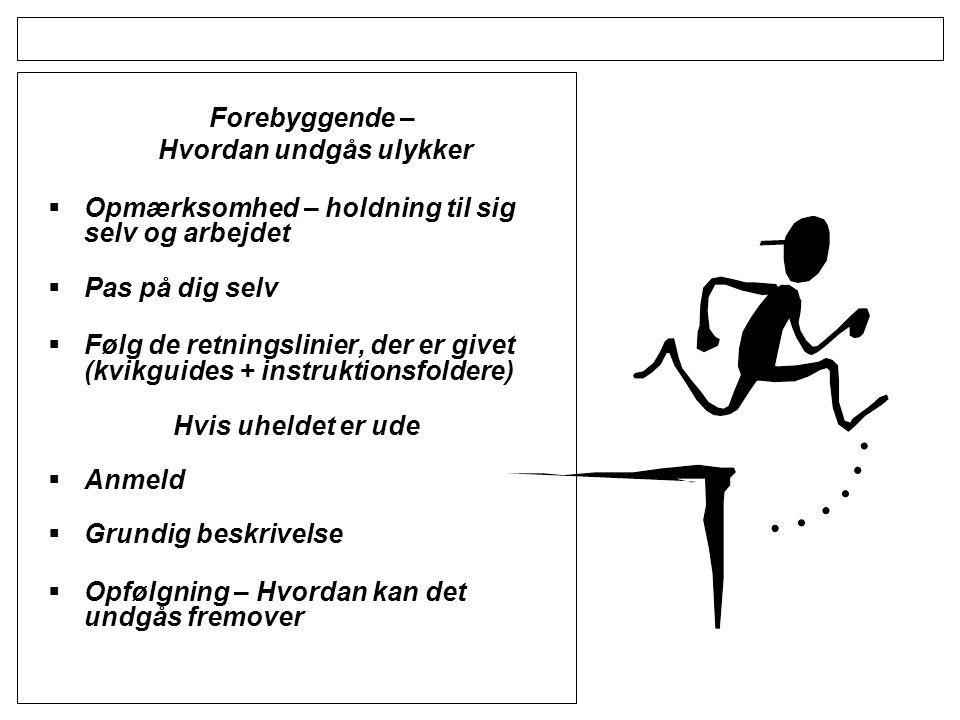 Forebyggende – Hvordan undgås ulykker  Opmærksomhed – holdning til sig selv og arbejdet  Pas på dig selv  Følg de retningslinier, der er givet (kvikguides + instruktionsfoldere) Hvis uheldet er ude  Anmeld  Grundig beskrivelse  Opfølgning – Hvordan kan det undgås fremover
