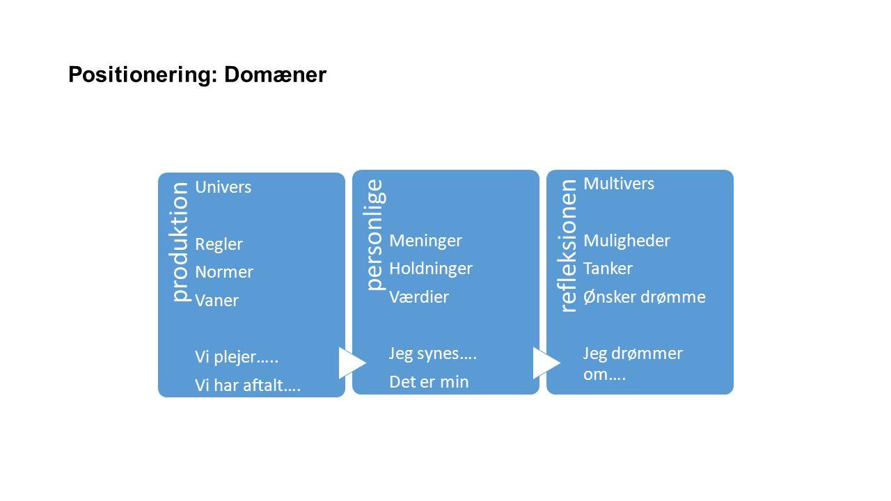 Positionering: Domæner produktion Univers Regler Normer Vaner Vi plejer…..