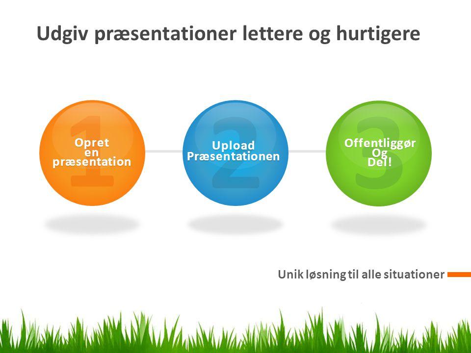 Udgiv præsentationer lettere og hurtigere Unik løsning til alle situationer 1Opret en præsentation 2UploadPræsentationen 3OffentliggørOgDel!