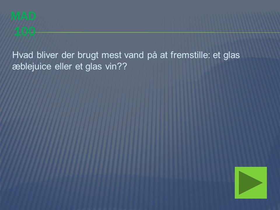 Hvad bliver der brugt mest vand på at fremstille: et glas æblejuice eller et glas vin??