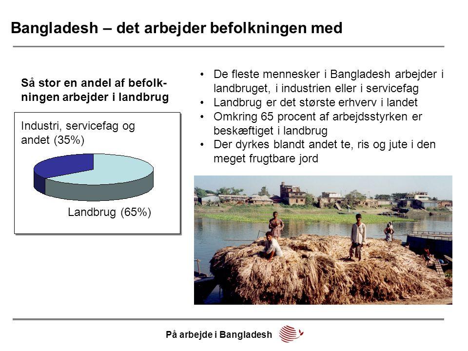 Bangladesh – det arbejder befolkningen med •De fleste mennesker i Bangladesh arbejder i landbruget, i industrien eller i servicefag •Landbrug er det største erhverv i landet •Omkring 65 procent af arbejdsstyrken er beskæftiget i landbrug •Der dyrkes blandt andet te, ris og jute i den meget frugtbare jord Industri, servicefag og andet (35%) Landbrug (65%) Så stor en andel af befolk- ningen arbejder i landbrug På arbejde i Bangladesh