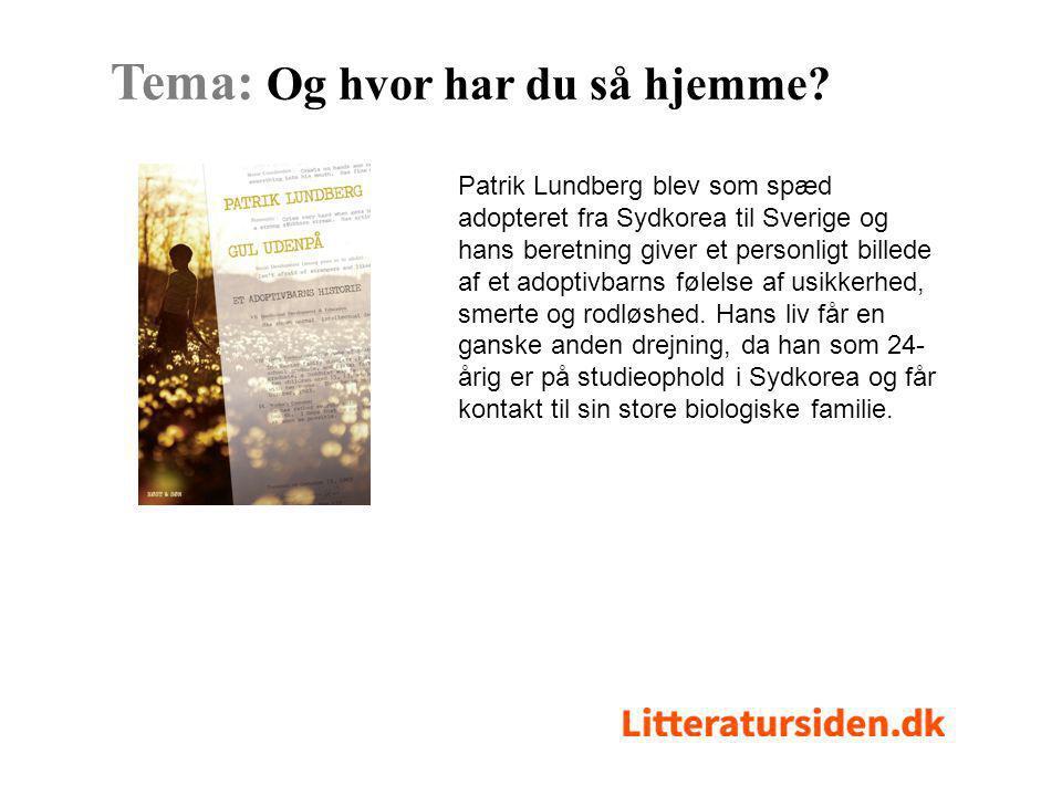 Patrik Lundberg blev som spæd adopteret fra Sydkorea til Sverige og hans beretning giver et personligt billede af et adoptivbarns følelse af usikkerhed, smerte og rodløshed.