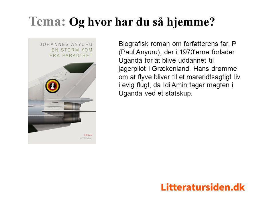 Biografisk roman om forfatterens far, P (Paul Anyuru), der i 1970 erne forlader Uganda for at blive uddannet til jagerpilot i Grækenland.