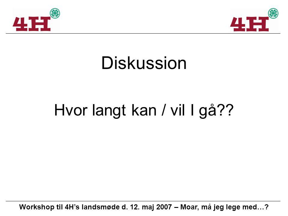 Workshop til 4H's landsmøde d. 12. maj 2007 – Moar, må jeg lege med….