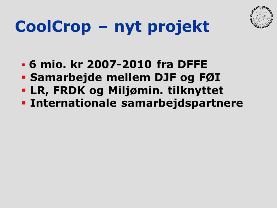 CoolCrop – nyt projekt  6 mio. kr 2007-2010 fra DFFE  Samarbejde mellem DJF og FØI  LR, FRDK og Miljømin. tilknyttet  Internationale samarbejdspar