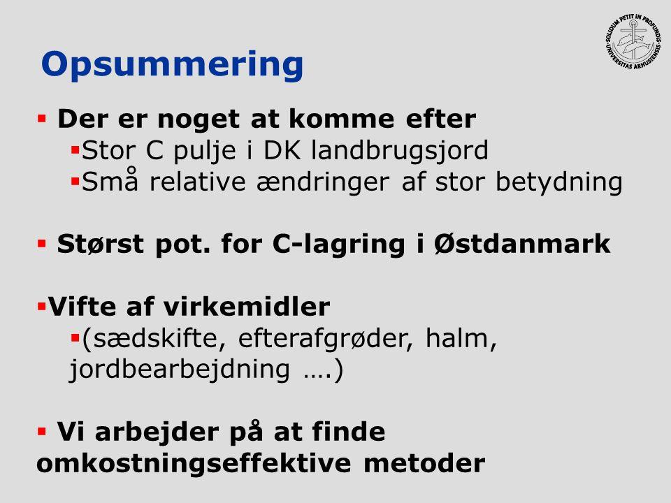 Opsummering  Der er noget at komme efter  Stor C pulje i DK landbrugsjord  Små relative ændringer af stor betydning  Størst pot. for C-lagring i Ø