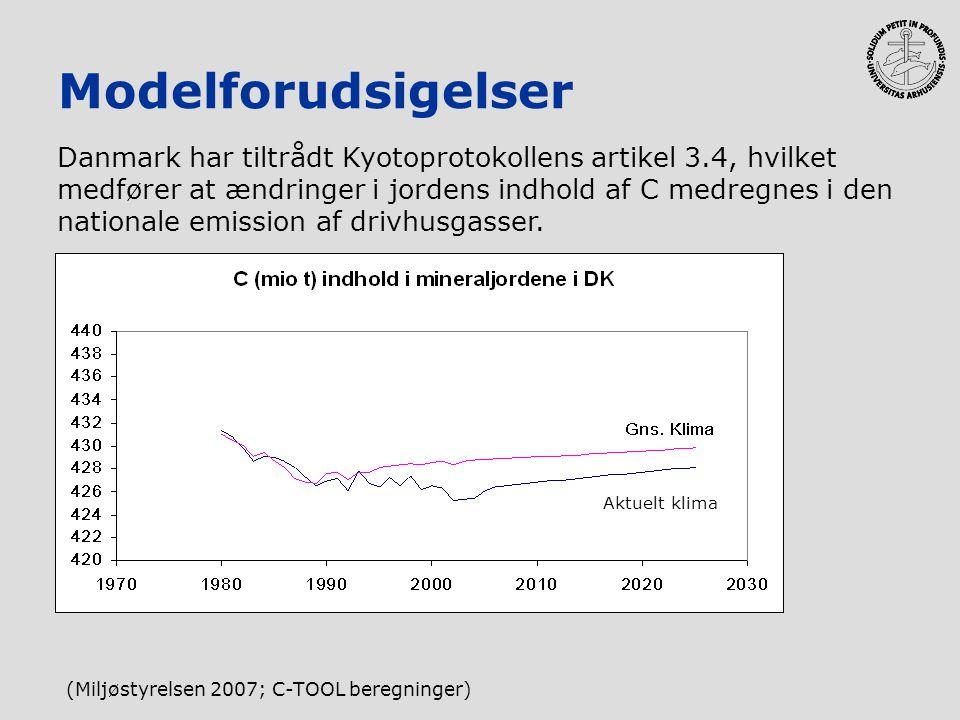 Modelforudsigelser Danmark har tiltrådt Kyotoprotokollens artikel 3.4, hvilket medfører at ændringer i jordens indhold af C medregnes i den nationale