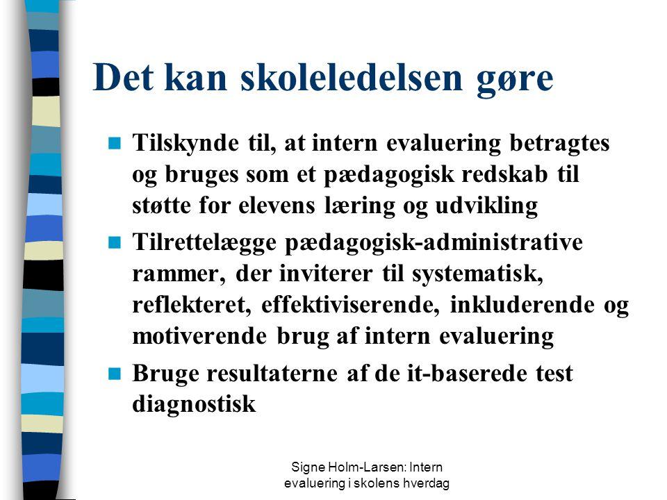 Signe Holm-Larsen: Intern evaluering i skolens hverdag Det kan skoleledelsen gøre  Tilskynde til, at intern evaluering betragtes og bruges som et pædagogisk redskab til støtte for elevens læring og udvikling  Tilrettelægge pædagogisk-administrative rammer, der inviterer til systematisk, reflekteret, effektiviserende, inkluderende og motiverende brug af intern evaluering  Bruge resultaterne af de it-baserede test diagnostisk