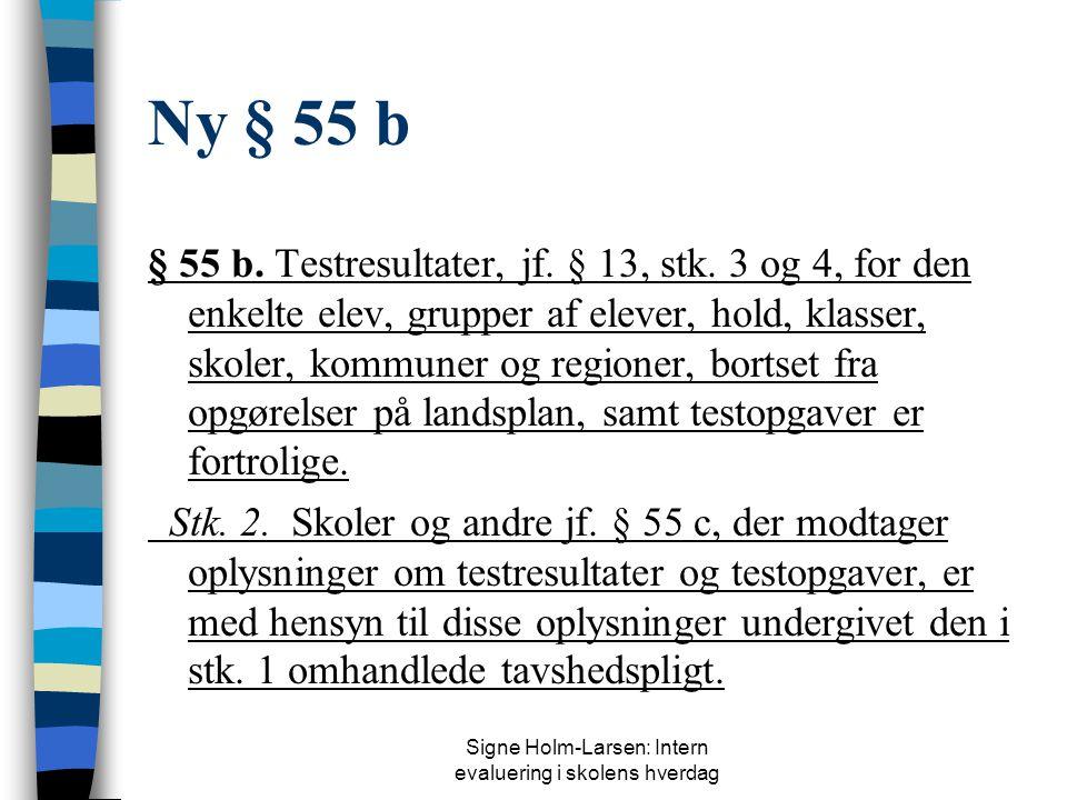 Signe Holm-Larsen: Intern evaluering i skolens hverdag Nyt § 13, stk. 3 Stk. 3. Undervisningsministeren udarbejder test i udvalgte fag og på bestemte