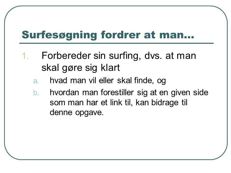 Surfesøgning fordrer at man… 1. Forbereder sin surfing, dvs. at man skal gøre sig klart a. hvad man vil eller skal finde, og b. hvordan man forestille