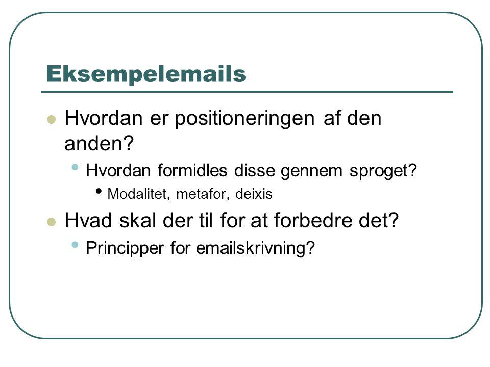 Eksempelemails  Hvordan er positioneringen af den anden? • Hvordan formidles disse gennem sproget? • Modalitet, metafor, deixis  Hvad skal der til f