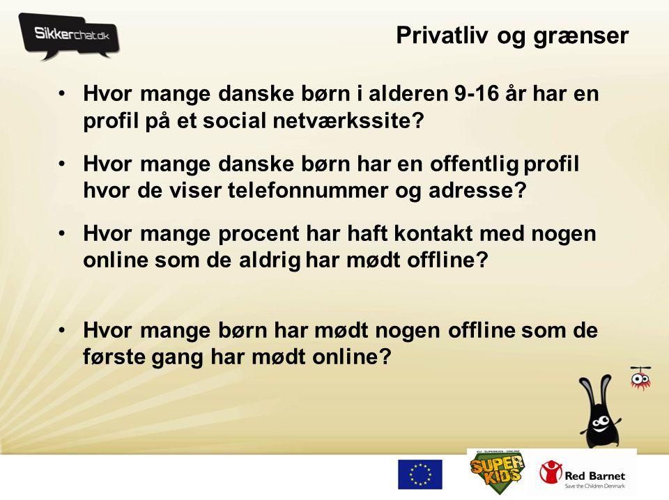 Privatliv og grænser •Hvor mange danske børn i alderen 9-16 år har en profil på et social netværkssite? •Hvor mange danske børn har en offentlig profi