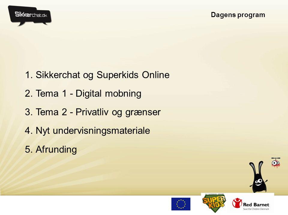 Dagens program 1.Sikkerchat og Superkids Online 2.Tema 1 - Digital mobning 3.Tema 2 - Privatliv og grænser 4.Nyt undervisningsmateriale 5.Afrunding