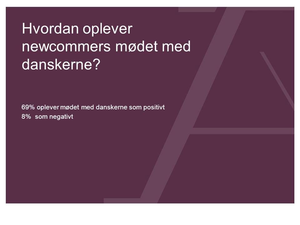 Hvordan oplever newcommers mødet med danskerne? 69% oplever mødet med danskerne som positivt 8% som negativt