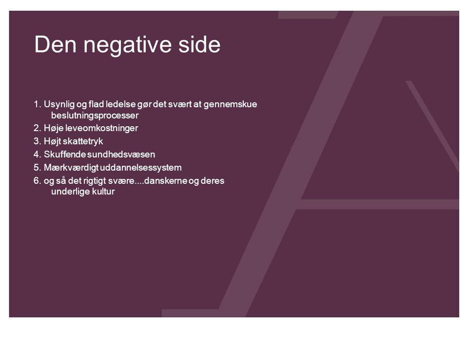 Den negative side 1. Usynlig og flad ledelse gør det svært at gennemskue beslutningsprocesser 2. Høje leveomkostninger 3. Højt skattetryk 4. Skuffende