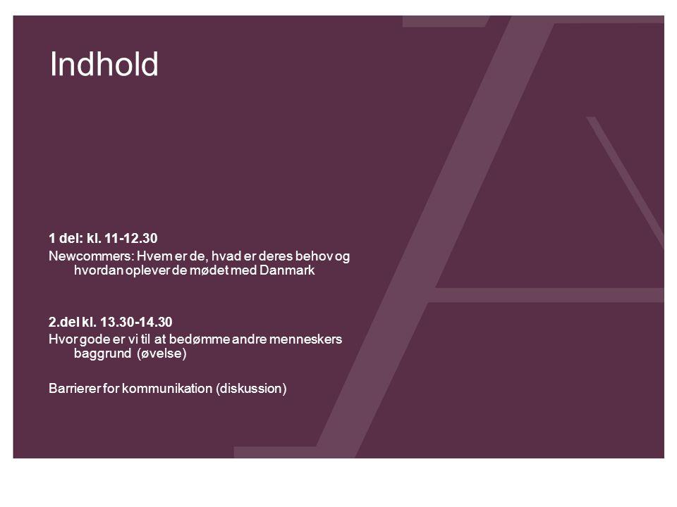 Indhold 1 del: kl. 11-12.30 Newcommers: Hvem er de, hvad er deres behov og hvordan oplever de mødet med Danmark 2.del kl. 13.30-14.30 Hvor gode er vi