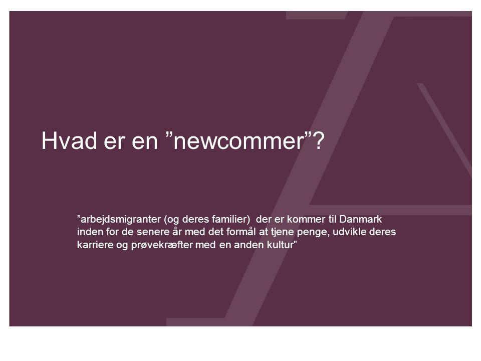 """Hvad er en """"newcommer""""? """"arbejdsmigranter (og deres familier) der er kommer til Danmark inden for de senere år med det formål at tjene penge, udvikle"""