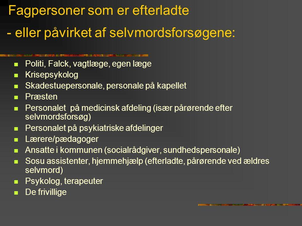 Fagpersoner som er efterladte - eller påvirket af selvmordsforsøgene:  Politi, Falck, vagtlæge, egen læge  Krisepsykolog  Skadestuepersonale, perso