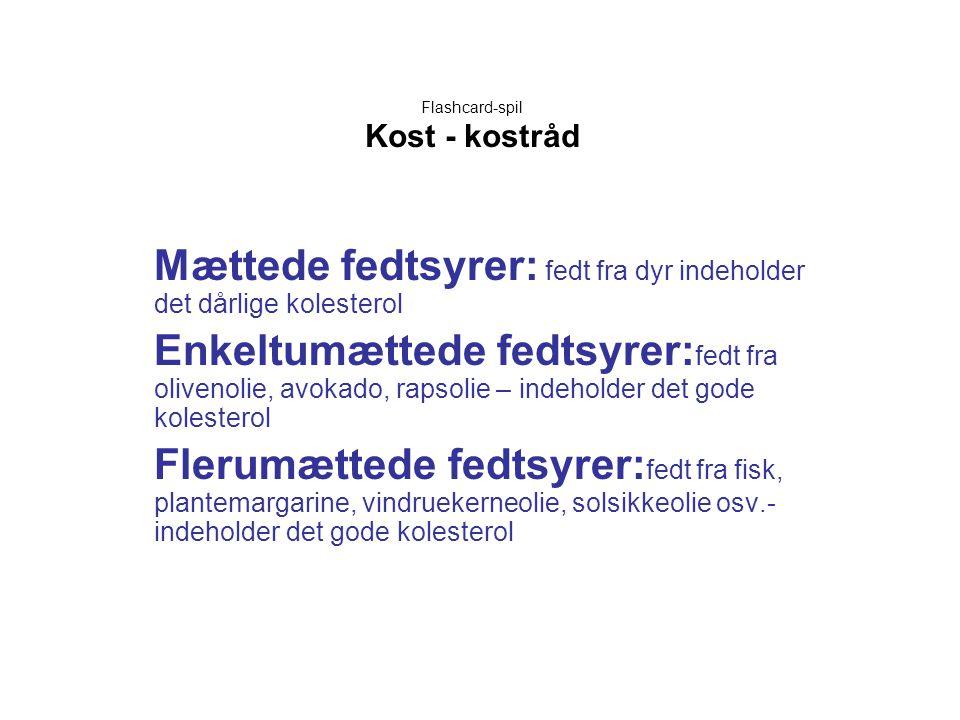 Flashcard-spil Kost - kostråd Mættede fedtsyrer: fedt fra dyr indeholder det dårlige kolesterol Enkeltumættede fedtsyrer: fedt fra olivenolie, avokado