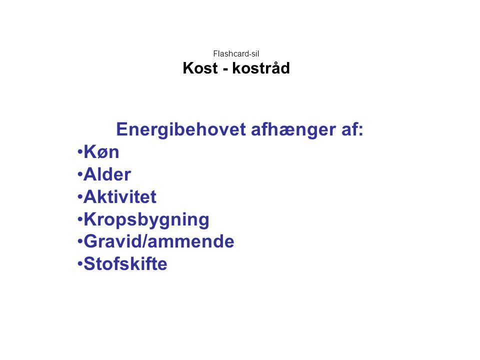 Flashcard-sil Kost - kostråd Energibehovet afhænger af: •Køn •Alder •Aktivitet •Kropsbygning •Gravid/ammende •Stofskifte