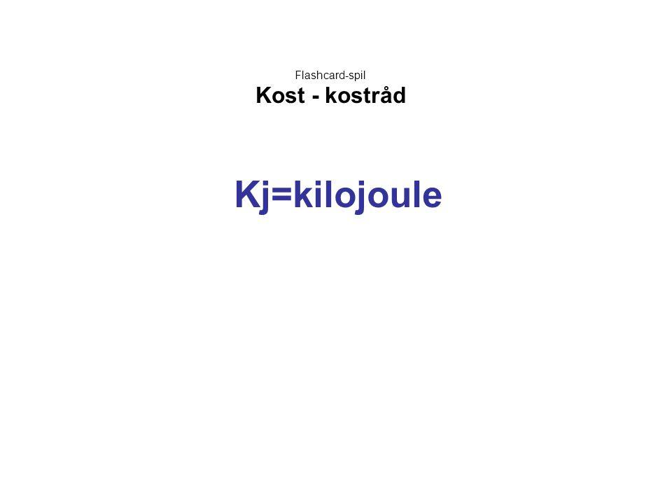 Flashcard-spil Kost - kostråd Kj=kilojoule
