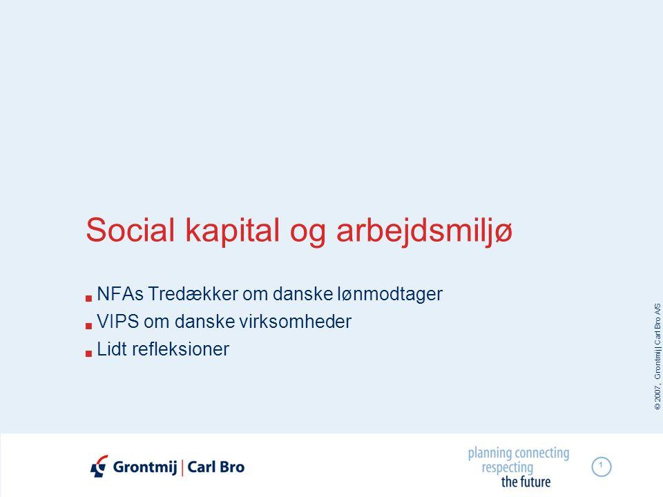 © 2007, Grontmij | Carl Bro A/S 1 Social kapital og arbejdsmiljø  NFAs Tredækker om danske lønmodtager  VIPS om danske virksomheder  Lidt refleksio