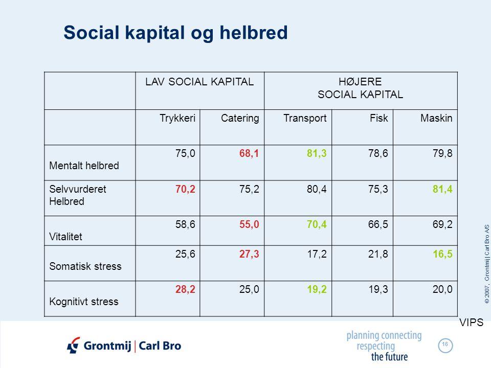 © 2007, Grontmij | Carl Bro A/S 16 Social kapital og helbred LAV SOCIAL KAPITALHØJERE SOCIAL KAPITAL TrykkeriCateringTransportFiskMaskin Mentalt helbr