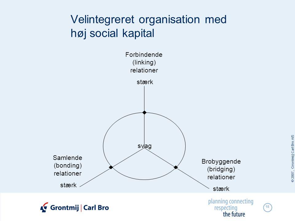 © 2007, Grontmij | Carl Bro A/S 18 Velintegreret organisation med høj social kapital svag Brobyggende (bridging) relationer stærk Samlende (bonding) r