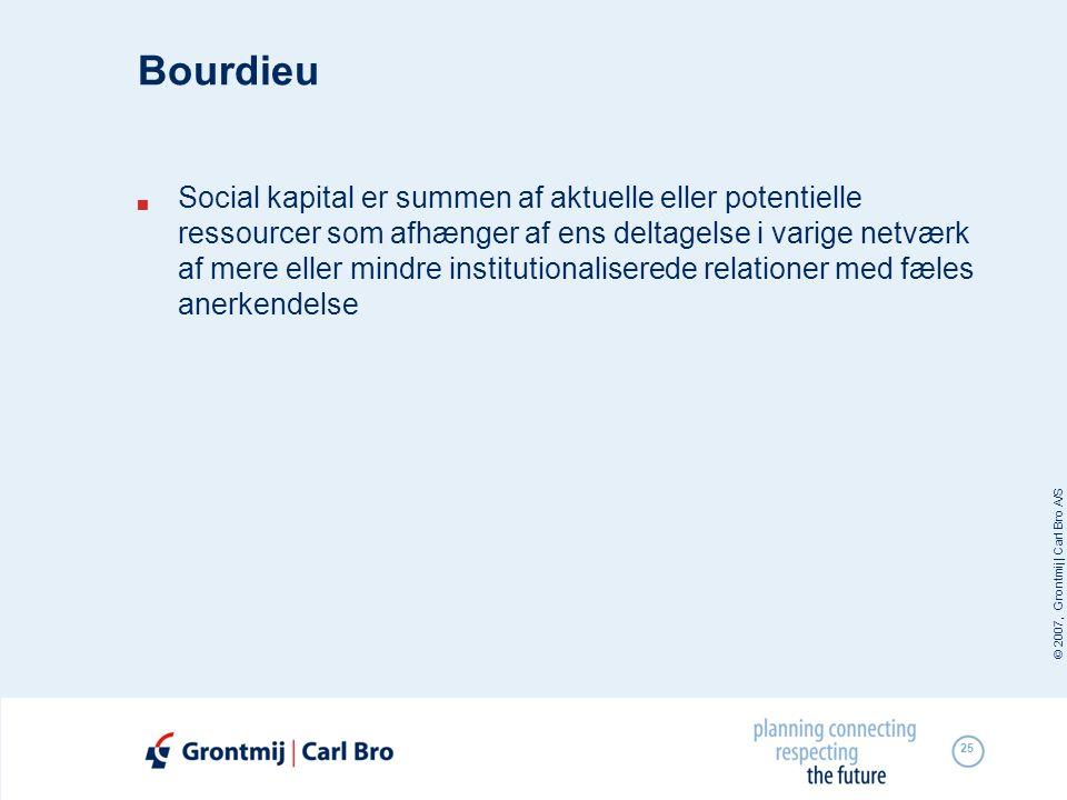 © 2007, Grontmij | Carl Bro A/S 25 Bourdieu  Social kapital er summen af aktuelle eller potentielle ressourcer som afhænger af ens deltagelse i varig