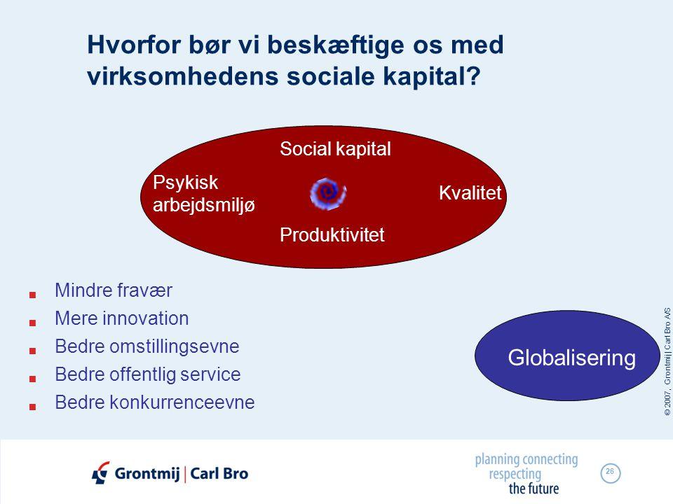 © 2007, Grontmij | Carl Bro A/S 26 Hvorfor bør vi beskæftige os med virksomhedens sociale kapital?  Mindre fravær  Mere innovation  Bedre omstillin