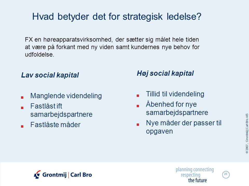 © 2007, Grontmij | Carl Bro A/S 28 Hvad betyder det for strategisk ledelse? Lav social kapital  Manglende videndeling  Fastlåst ift samarbejdspartne
