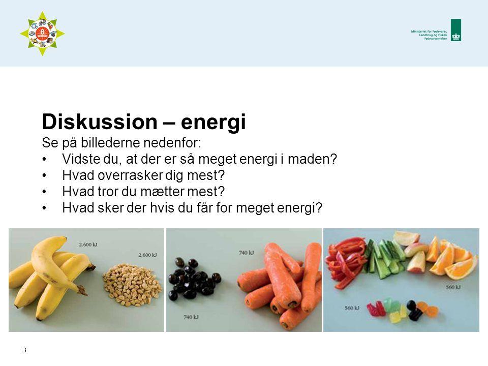 Diskussion – energi Se på billederne nedenfor: •Vidste du, at der er så meget energi i maden.