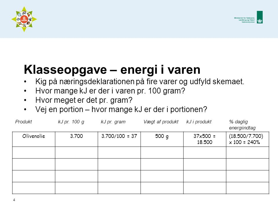 Klasseopgave – energi i varen •Kig på næringsdeklarationen på fire varer og udfyld skemaet.