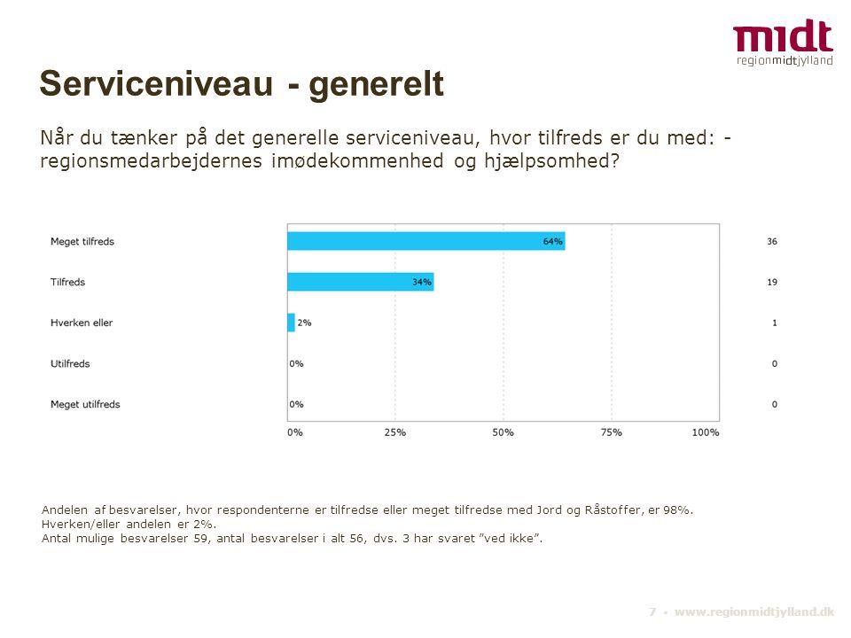 7 ▪ www.regionmidtjylland.dk Serviceniveau - generelt Når du tænker på det generelle serviceniveau, hvor tilfreds er du med: - regionsmedarbejdernes imødekommenhed og hjælpsomhed.