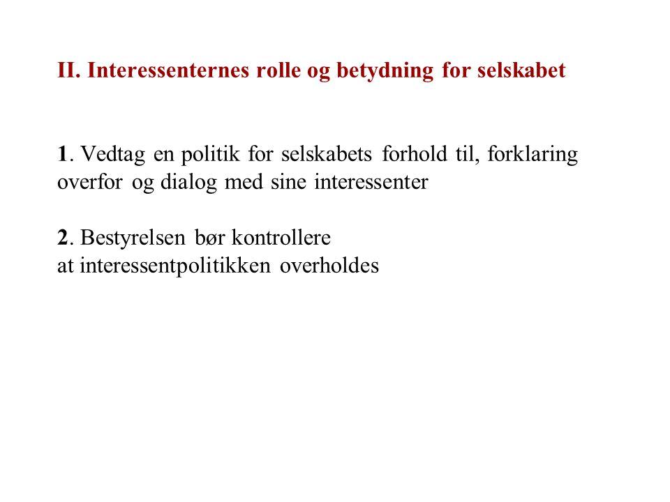 II. Interessenternes rolle og betydning for selskabet 1. Vedtag en politik for selskabets forhold til, forklaring overfor og dialog med sine interesse