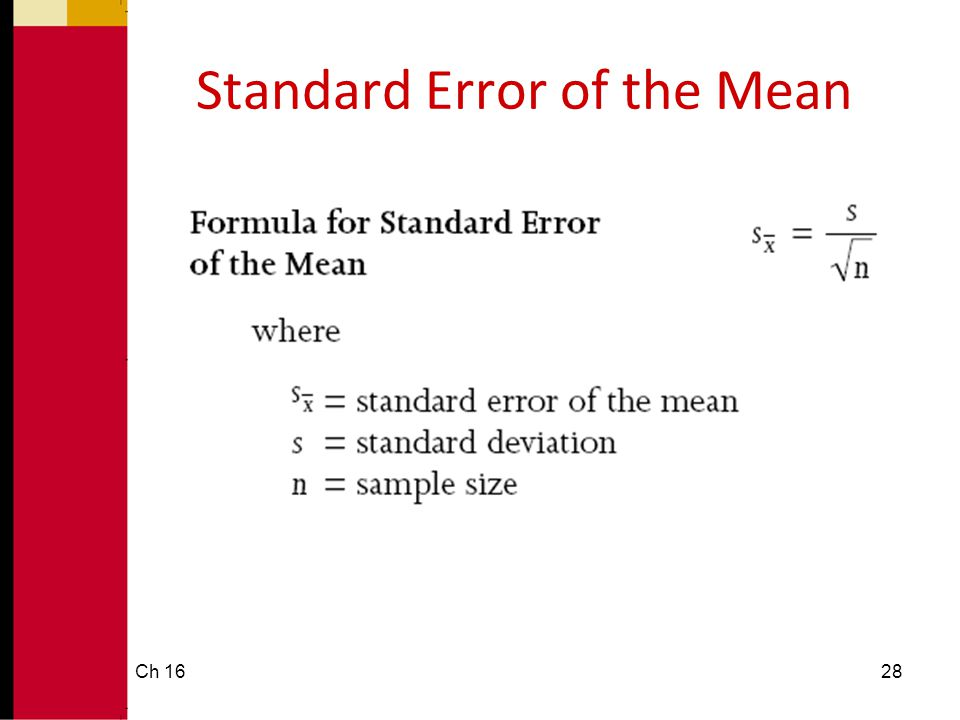 Standard Error of the Mean Ch 1628