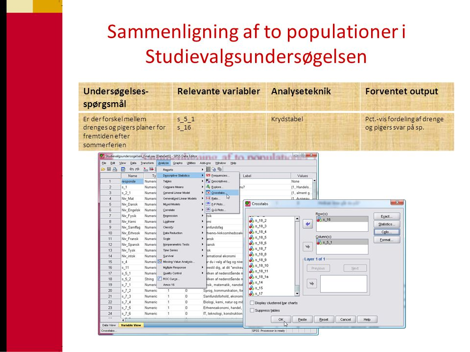 •Sammenligninger ved hjælp af tabelanalyse Sammenligning af to populationer i Studievalgsundersøgelsen Undersøgelses- spørgsmål Relevante variablerAna