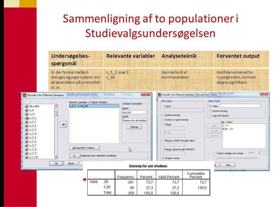 Sammenligning af to populationer i Studievalgsundersøgelsen Undersøgelses- spørgsmål Relevante variablerAnalyseteknikForventet output Er der forskel m