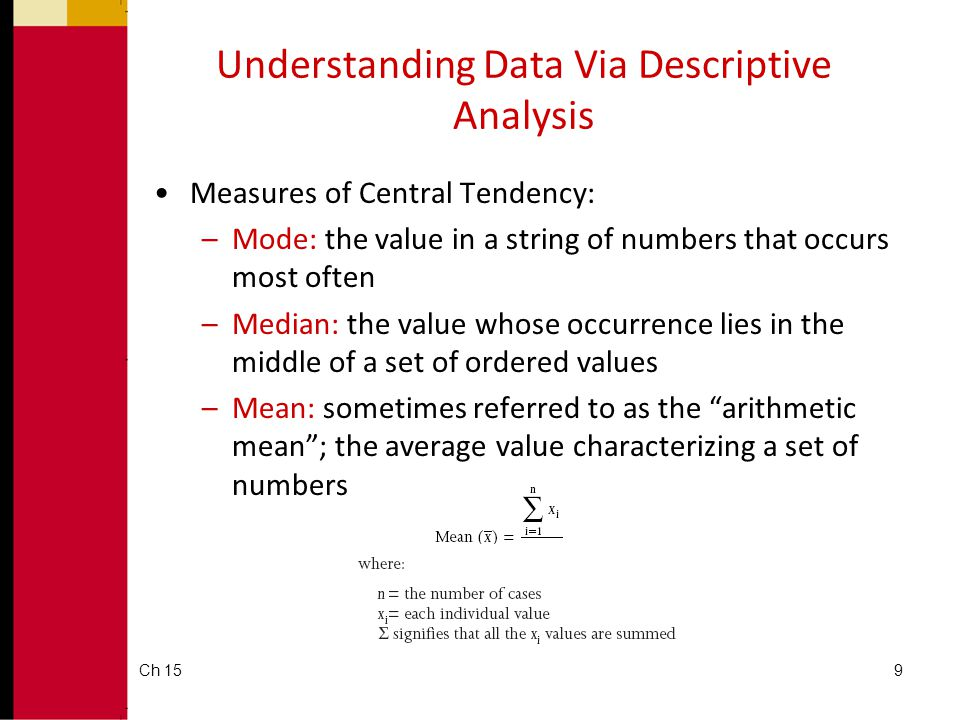 Ch 159 Understanding Data Via Descriptive Analysis •Measures of Central Tendency: –Mode: the value in a string of numbers that occurs most often –Medi