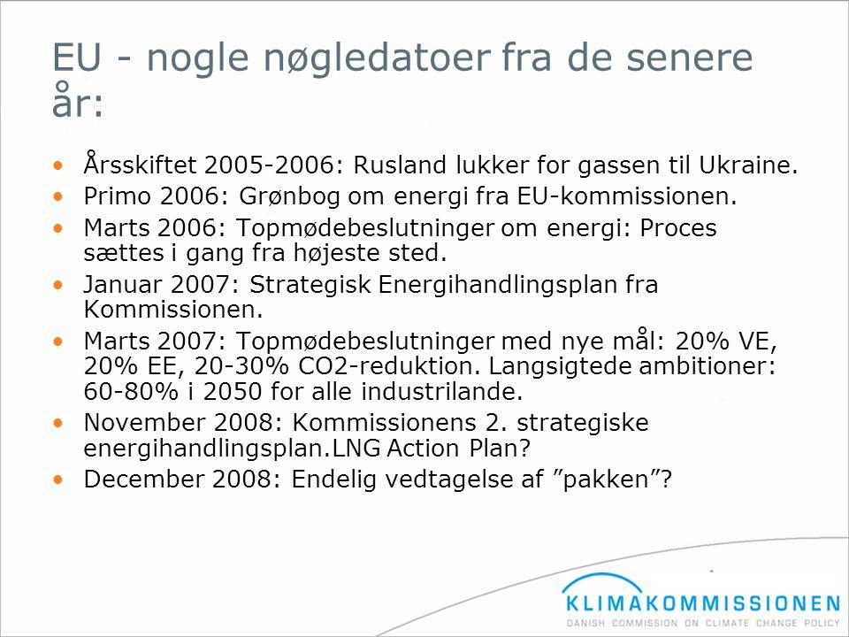 EU - nogle nøgledatoer fra de senere år: •Årsskiftet 2005-2006: Rusland lukker for gassen til Ukraine. •Primo 2006: Grønbog om energi fra EU-kommissio