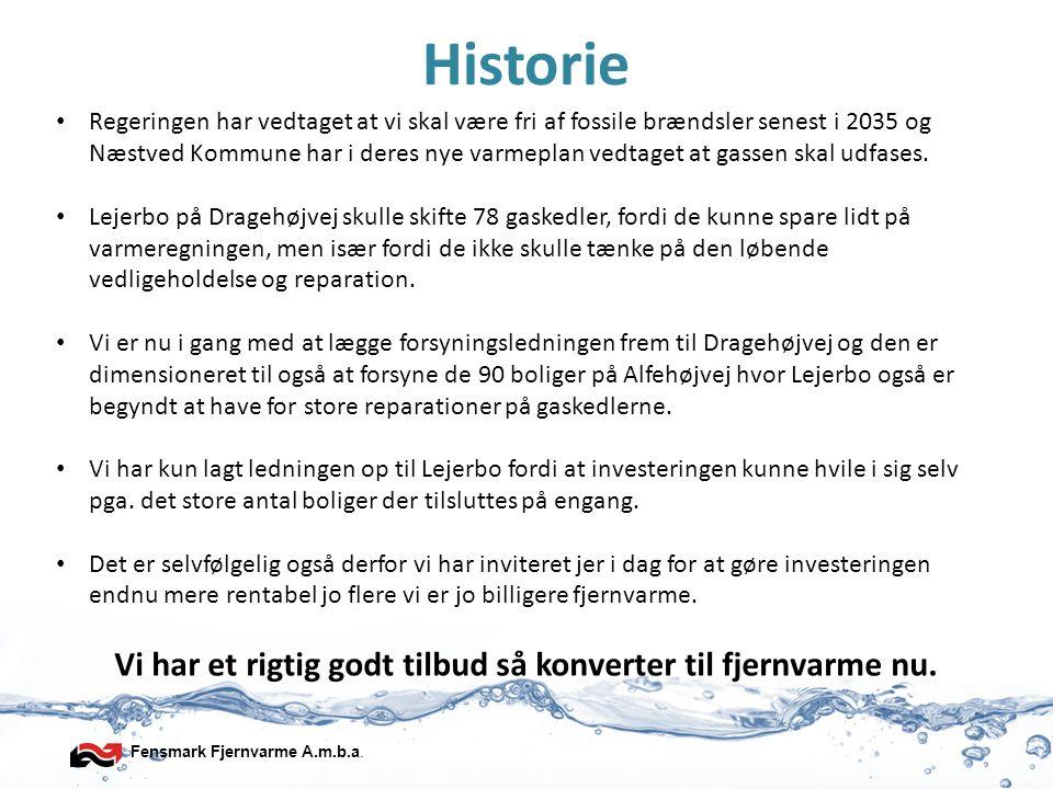 Fensmark Fjernvarme A.m.b.a. Historie • Regeringen har vedtaget at vi skal være fri af fossile brændsler senest i 2035 og Næstved Kommune har i deres